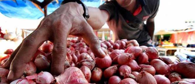 Harga bawang yang ditawarkan pedagang di pasar tradisional Kota Ambon, kini mulai bergerak turun.